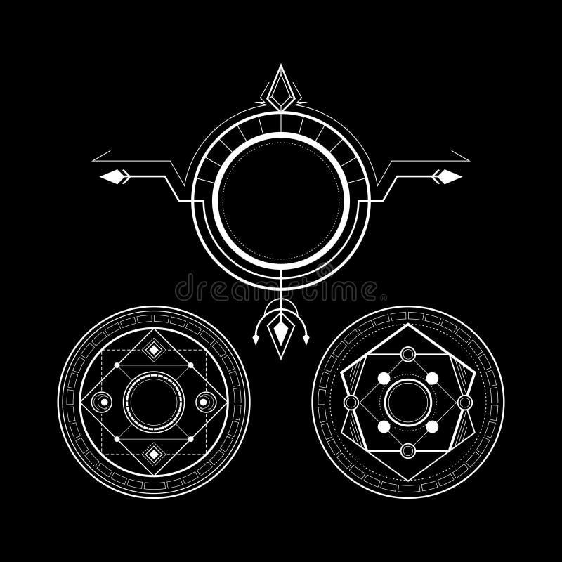 De heilige rune van de Meetkunde magische cirkel royalty-vrije illustratie