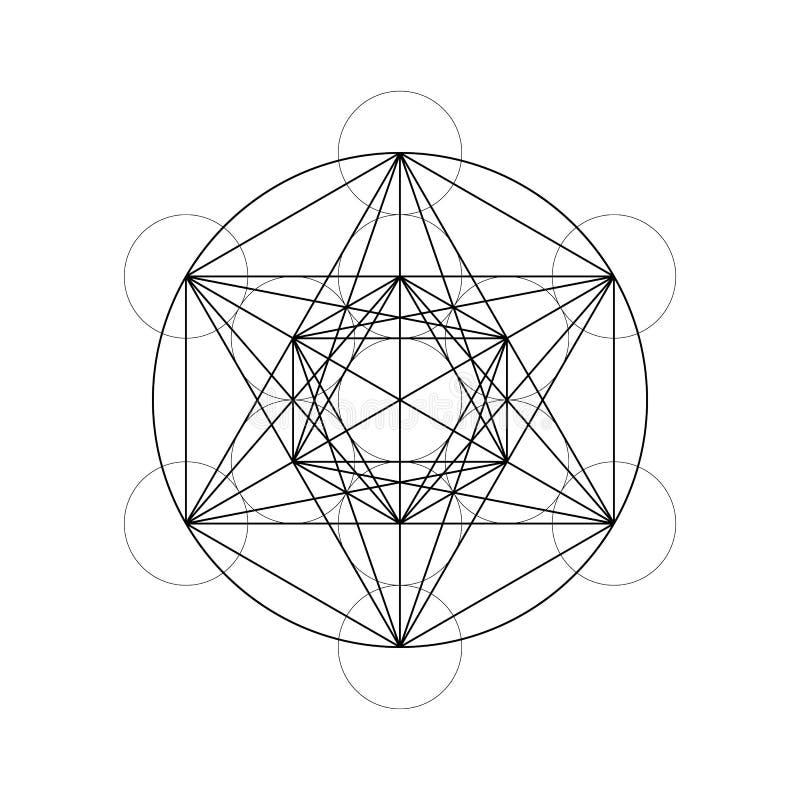 De heilige Ster van Meetkundedavids en Metatron-Kubus vectorillustratie vector illustratie