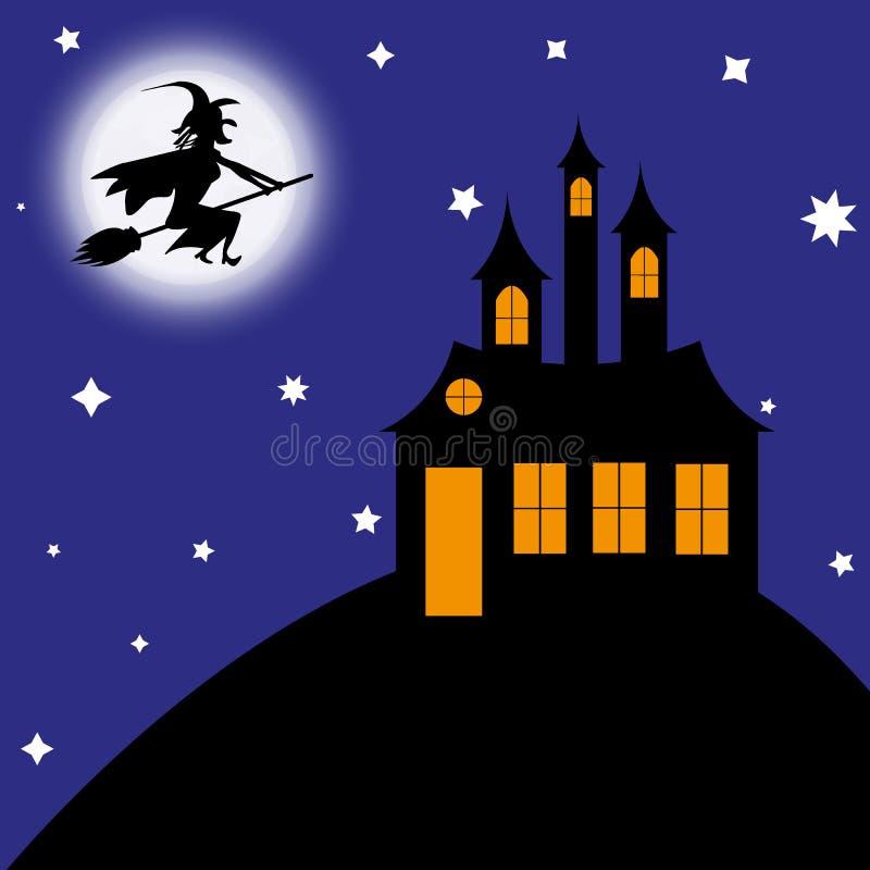 De heks op een bezemsteel vliegt aan het kasteel royalty-vrije illustratie