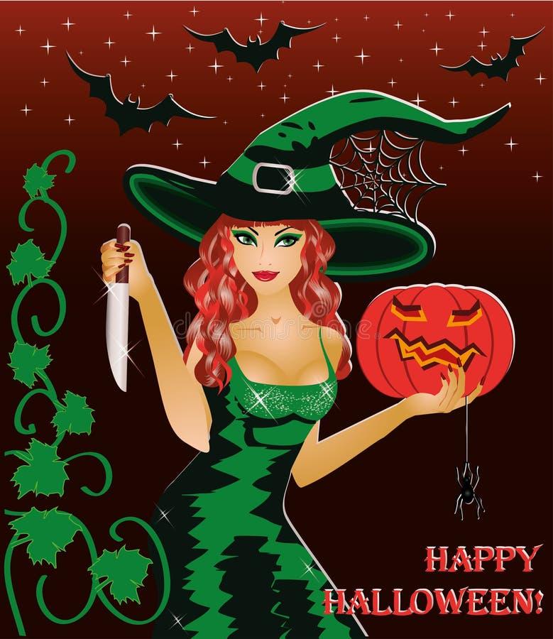 De heks van de roodharige met een mes stock illustratie