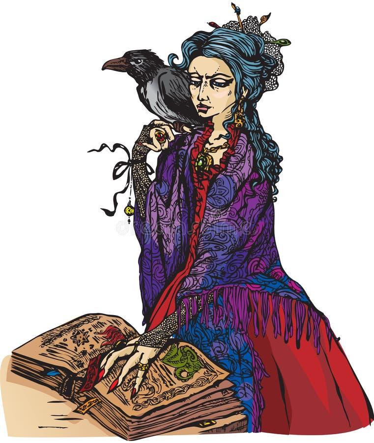 De heks van de vrouw met zwarte raaf stock illustratie
