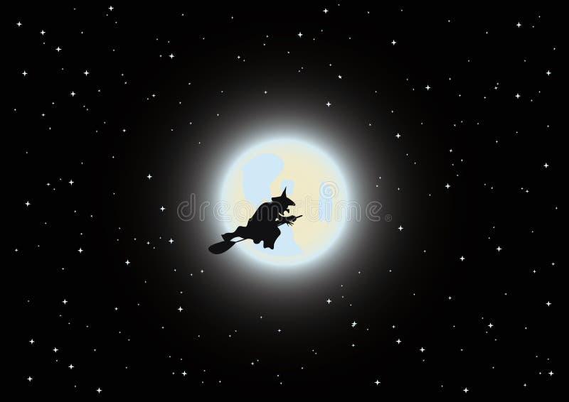 De heks vliegt door de bezem vector illustratie