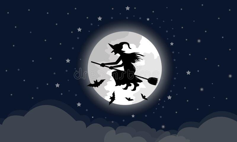 De heksen berijden de bezem door de grote maan, zijn de wolken hieronder in de nacht met een sterhoogtepunt van blauwe Halloween- stock illustratie