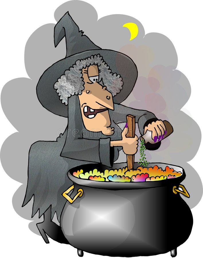 Download De heksen brouwen stock illustratie. Afbeelding bestaande uit heksen - 32288