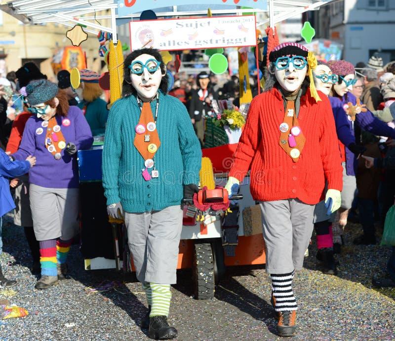 De heksen Carnaval Bazel 2013 van Waggis stock afbeelding
