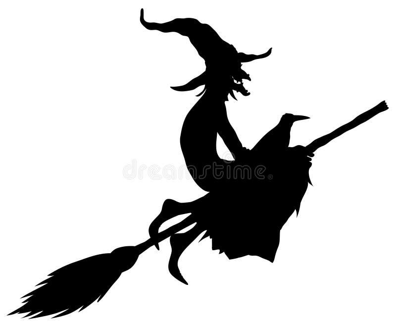 De heksensilhouet van Halloween stock illustratie