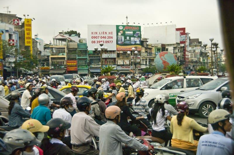 De hel Saigon, Vietnam van het verkeer stock foto's