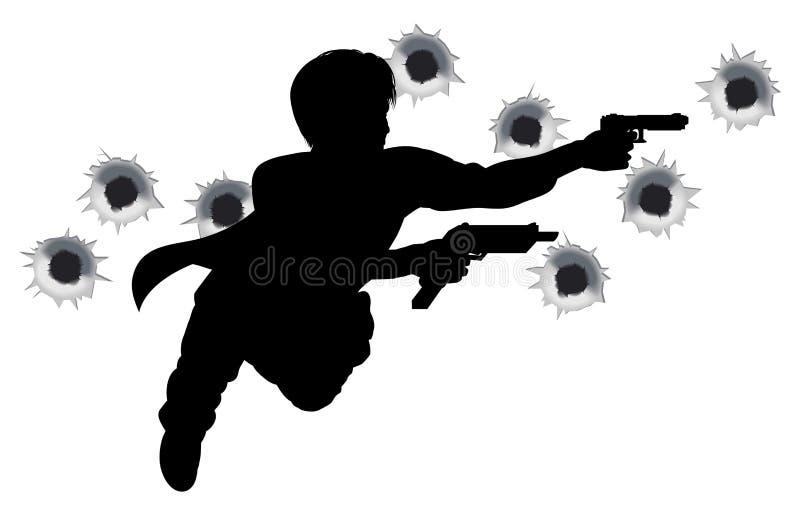 Download De Held Van De Actie In Het Silhouet Van De Kanonstrijd Vector Illustratie - Illustratie bestaande uit medio, gunfight: 18734850