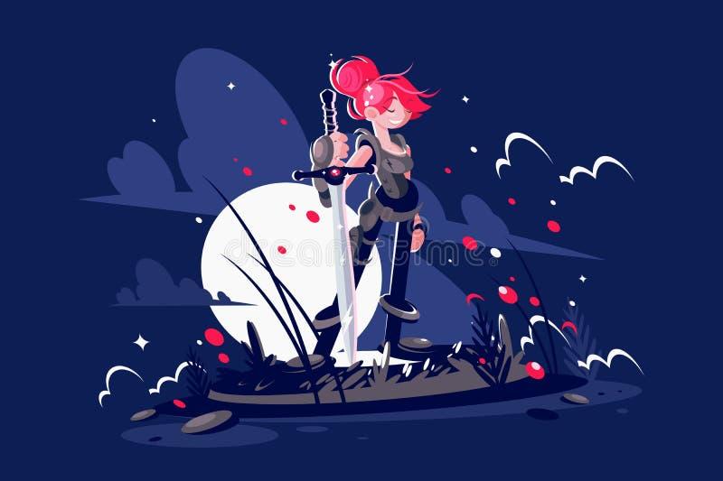 De held van de vrouwenstrijder met zwaard op slagveld vector illustratie