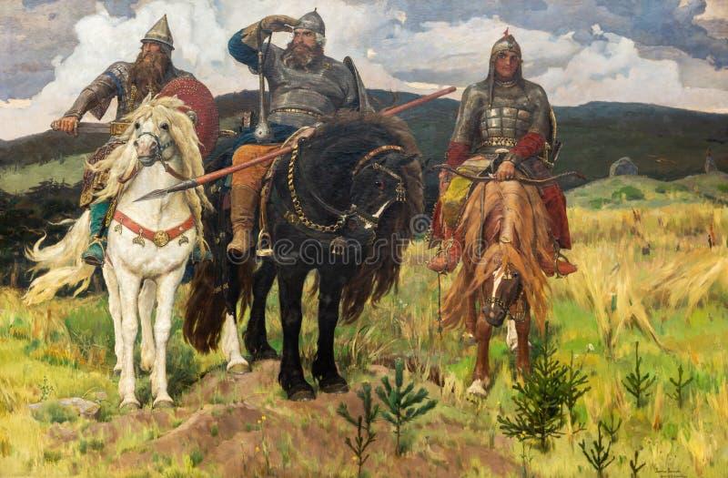 De helden Bogatyri is het schilderen door Viktor Vasnetsov in Staat Trety royalty-vrije stock fotografie