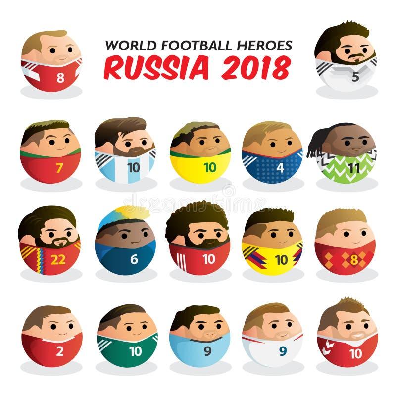 De Helden Rusland 2018 van de wereldvoetbal royalty-vrije illustratie