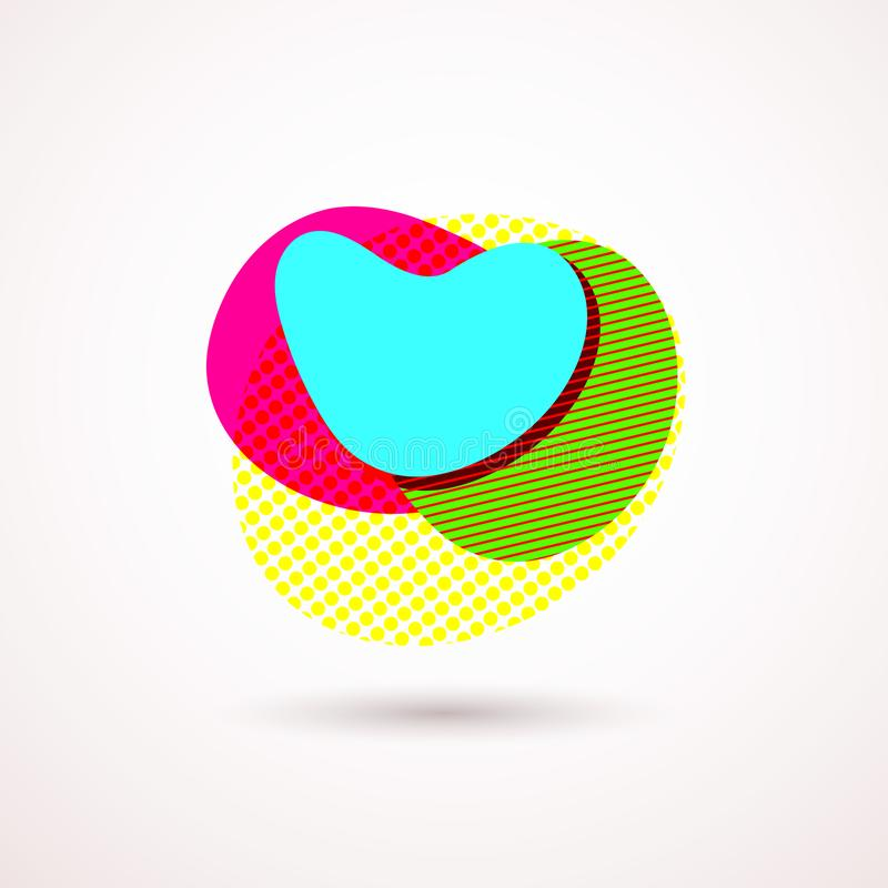 De heldere abstracte blauwe van de de vorm Kleurrijke heldere geometrische vorm van de lay-out organische cirkel van de het emble royalty-vrije illustratie