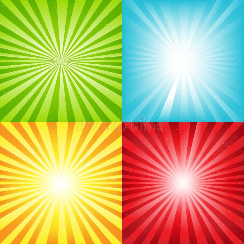 De heldere Achtergrond van de Zonnestraal met Stralen en Sterren vector illustratie
