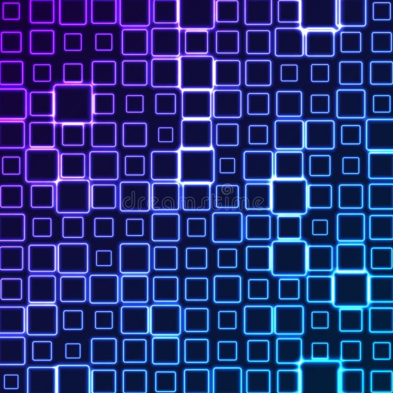De heldere blauwe violette abstracte achtergrond van neon geometrische vierkanten stock illustratie