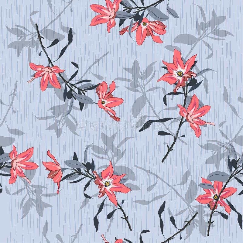 De heldere bloemen van de de zomer Mooie tuin met schaduw op lichtgrijs vector illustratie