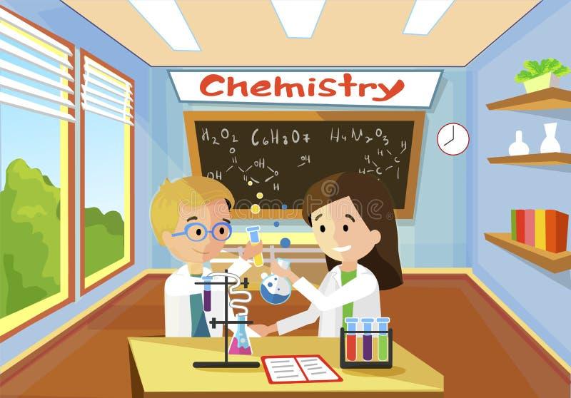 De heldere Comfortabele Chemie van de Klaslokaalles vector illustratie