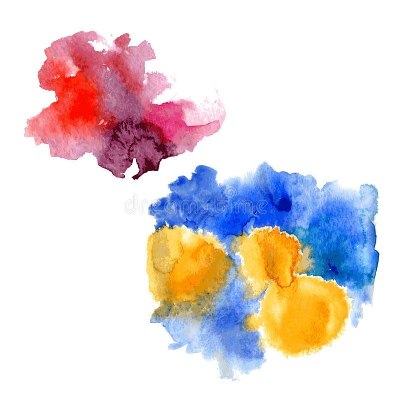 De heldere druppels van de waterverf rozerode vlek en de Blauwe gele waterverf bespatten op witte achtergrond Vector vector illustratie