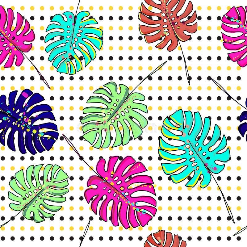 De heldere en kleurrijke hand getrokken Hawaiiaanse tropische palmbladen met neonkleuren ontwerpen naadloze patroonvector vector illustratie