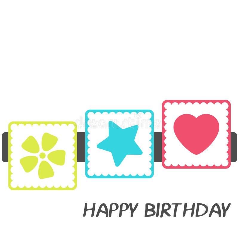 De heldere Gelukkige kaart van de Verjaardagsgroet in minimalistische stijl Modern verjaardagskenteken of etiket met wensbericht  stock illustratie