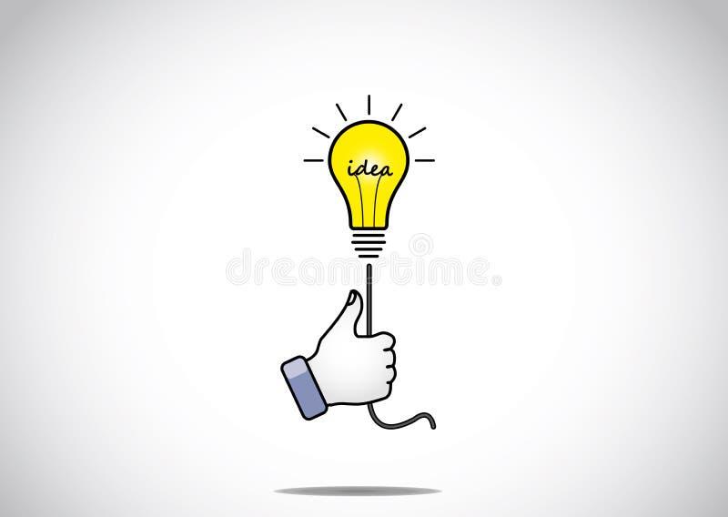 De heldere gloeiende gele die gloeilamp van de ideeoplossing door jong gezoem wordt gehouden stock illustratie