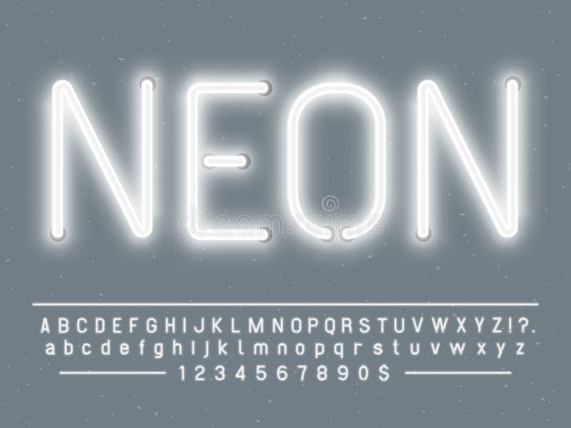 De heldere gloeiende witte karakters van het neonteken De vectordoopvont met gloed steekt letters en getallen lampen aan stock illustratie