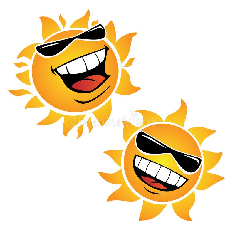 De heldere het Glimlachen Gelukkige Vectorillustraties van het Zonbeeldverhaal vector illustratie