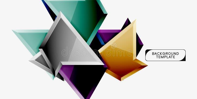 De heldere kleurrijke driehoekige poly 3d samenstelling, vat geometrische achtergrond, minimaal ontwerp, veelhoekige futuristisch vector illustratie