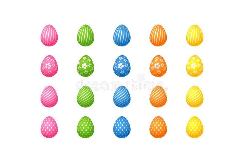 De heldere kleurrijke paaseierenreeks roze blauwgroene oranjegele eieren met spiraalvormige lijnen bevlekt Geïsoleerd bloemenpatr vector illustratie