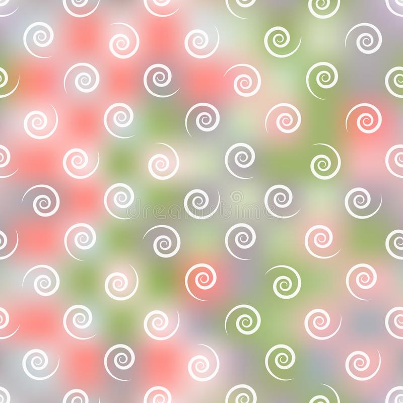 De heldere krullen op een onscherpe grijs-green met een heldere mandarijn kleuren achtergrond, naadloos patroon, vector vector illustratie