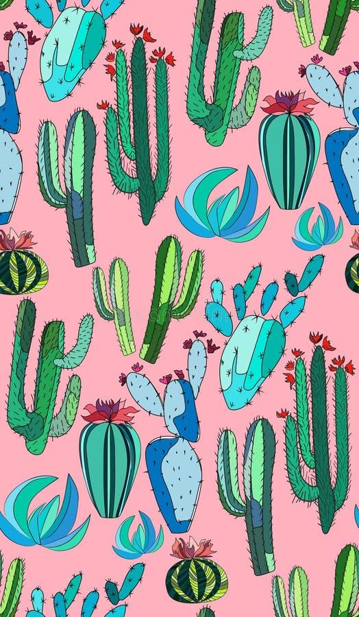 De heldere leuke mooie abstracte mooie Mexicaanse tropische bloemen kruidenverf van de de zomer groene cactus zoals kind op roze  stock illustratie