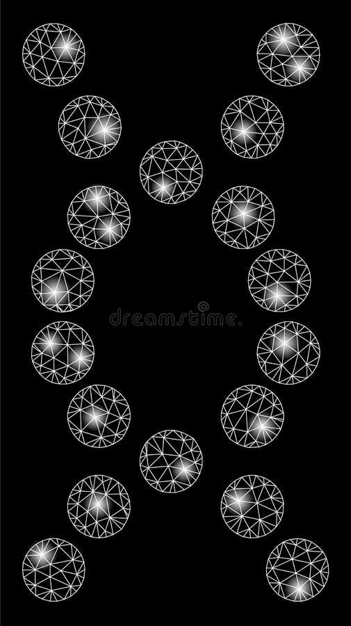 De heldere Mesh Network-Schroef van DNA met Flitsvlekken royalty-vrije illustratie