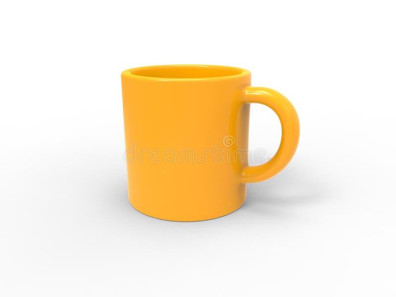 De heldere mok van de zon gele koffie stock illustratie
