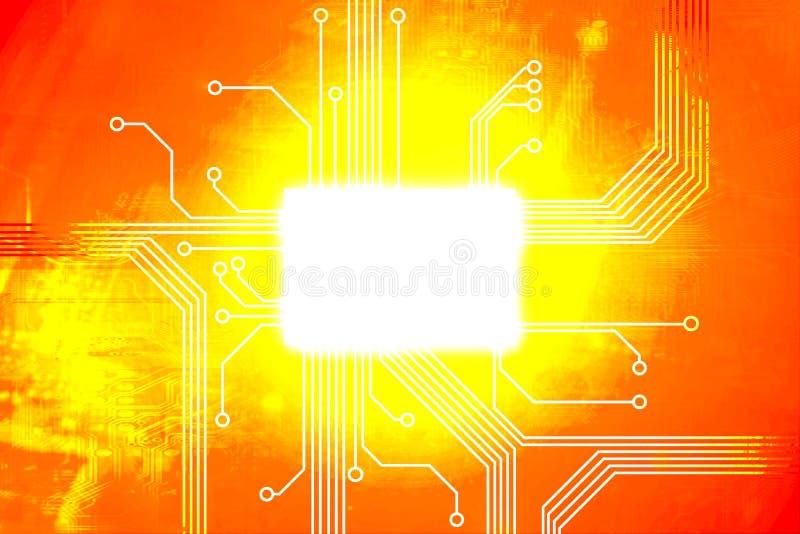 De heldere oranje kern van de digitale computerspaander royalty-vrije illustratie