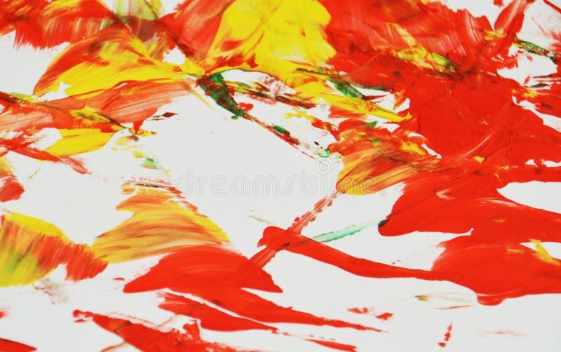 De heldere rode gele kleuren, vage het schilderen waterverfachtergrond, vatten het schilderen waterverfachtergrond samen royalty-vrije stock afbeeldingen