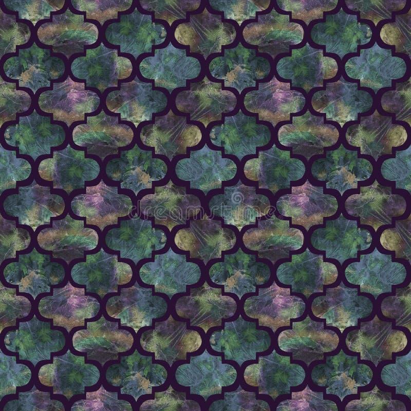 De heldere textuur van grunge kleurrijke plonsen van de tegels krullende oostelijke geometrische vorm abstracte, ontwerp van het  royalty-vrije stock foto