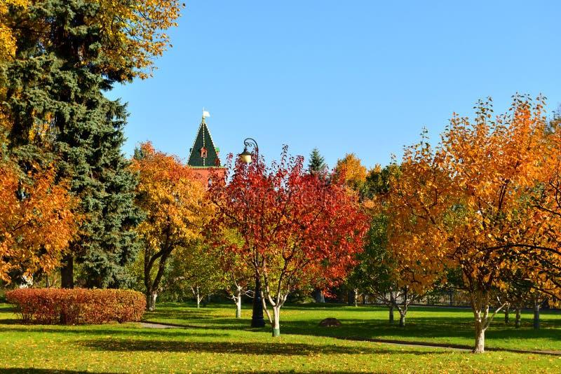 De heldere veelkleurige herfst in het park van het Kremlin moskou royalty-vrije stock foto's