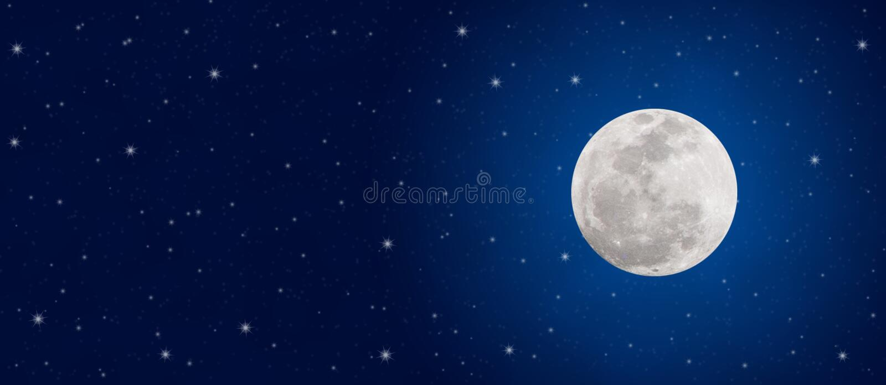 De heldere Volle maan en fonkelt Sterren in de Donkerblauwe Banner van de Nachthemel stock fotografie