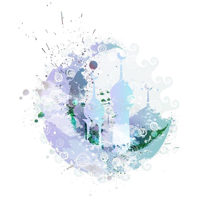 De heldere waterverf bespat maan en moskeeontwerp voor heilige maand van het Moslim Communautaire Festival Ramadan Kareem van ` s royalty-vrije illustratie