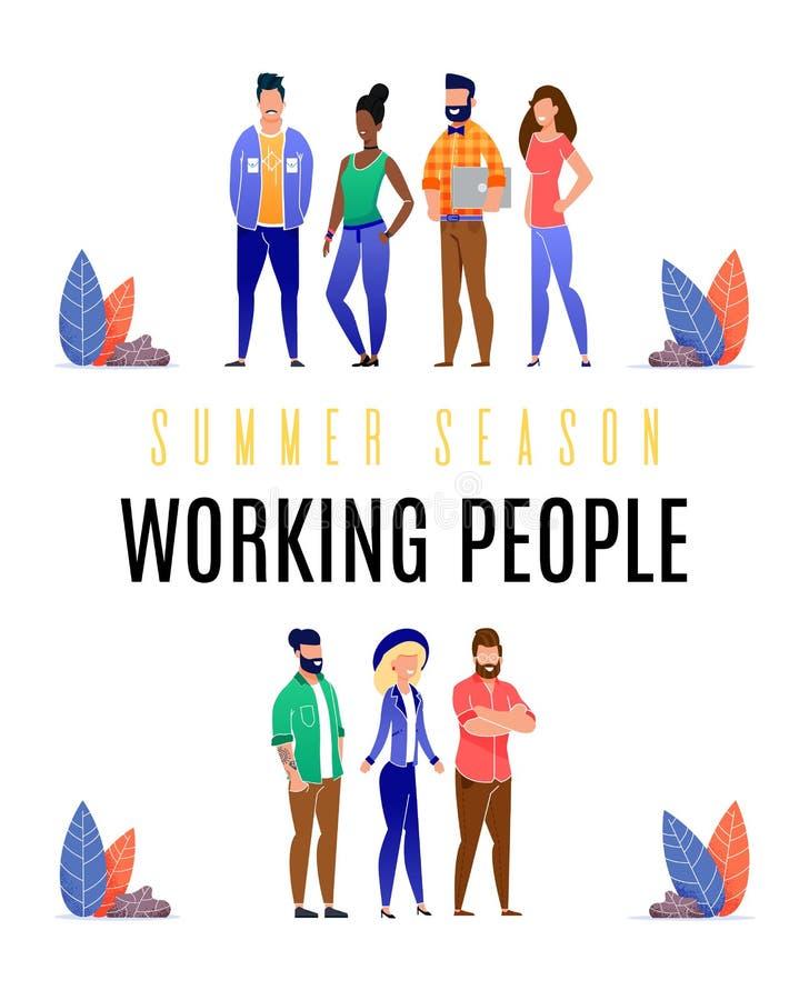 De heldere Werkende Mensen van de Vliegerzomer vlak royalty-vrije illustratie