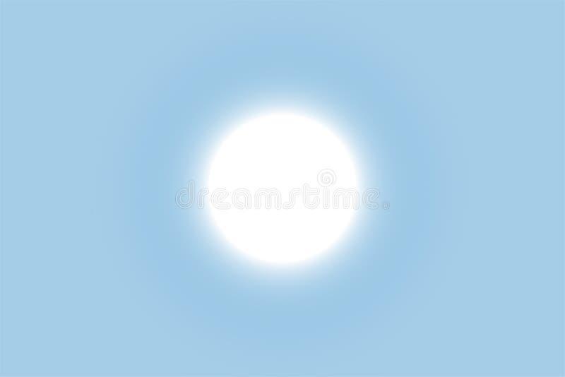 De heldere zon glanst in de duidelijke blauwe hemel Eps 10 vector illustratie