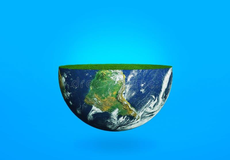 De helft van de aarde met gras op een blauwe achtergrond stock illustratie