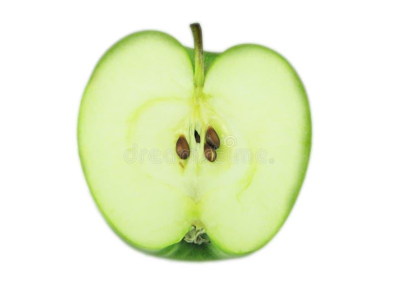 De helft van de groene appel. stock foto