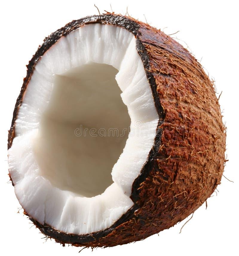 De helft van de kokosnoot die op een wit wordt geïsoleerdo. royalty-vrije stock fotografie