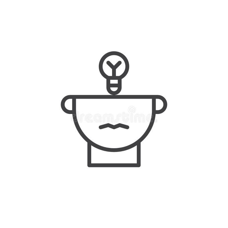 De helft van het menselijke pictogram van de hoofd en gloeilampenlijn royalty-vrije illustratie