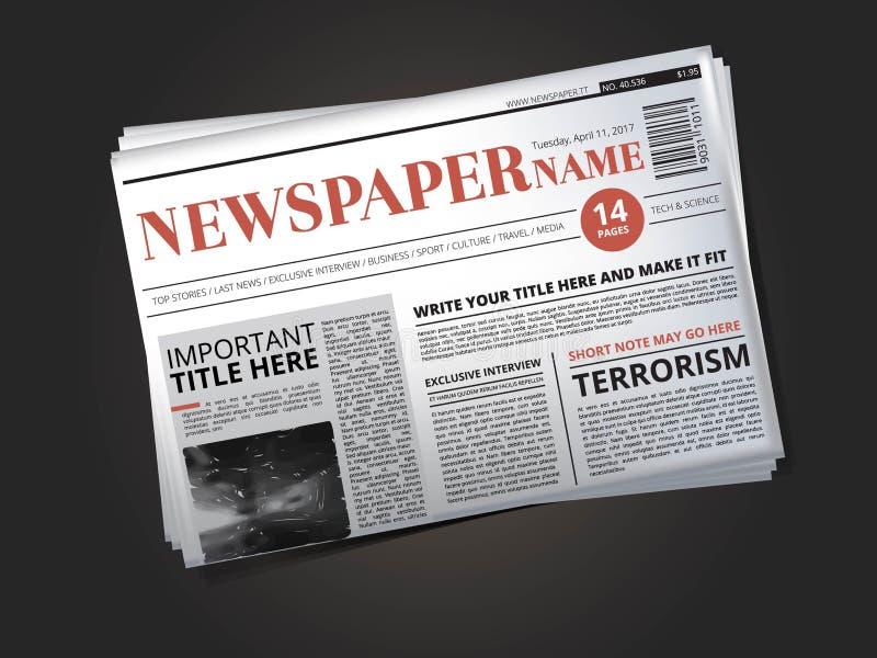 De helft van krantenmalplaatje met krantekop De vectorillustratie isoleert royalty-vrije illustratie