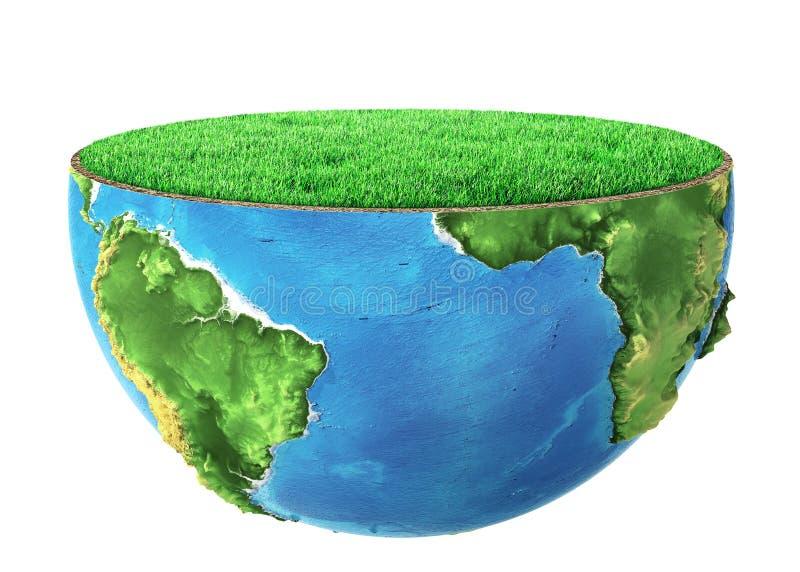 De helft van planeet met groen gras stock illustratie