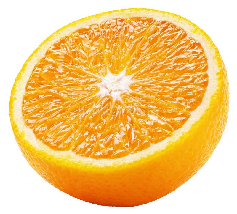 De helft van de sinaasappelcitrusvruchten is geïsoleerd op wit stock afbeelding
