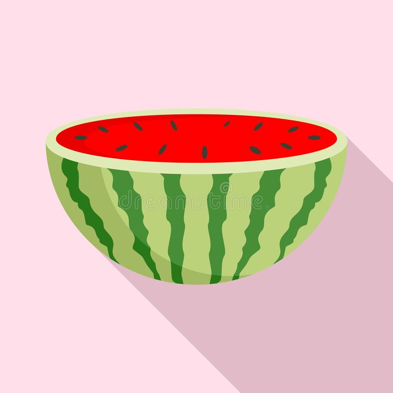 De helft van watermeloenpictogram, vlakke stijl vector illustratie