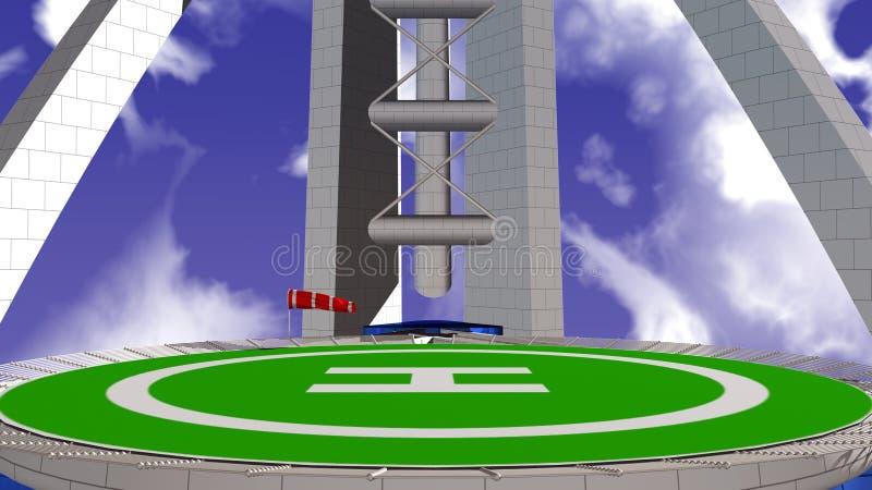 De helihaven van het hotel vector illustratie