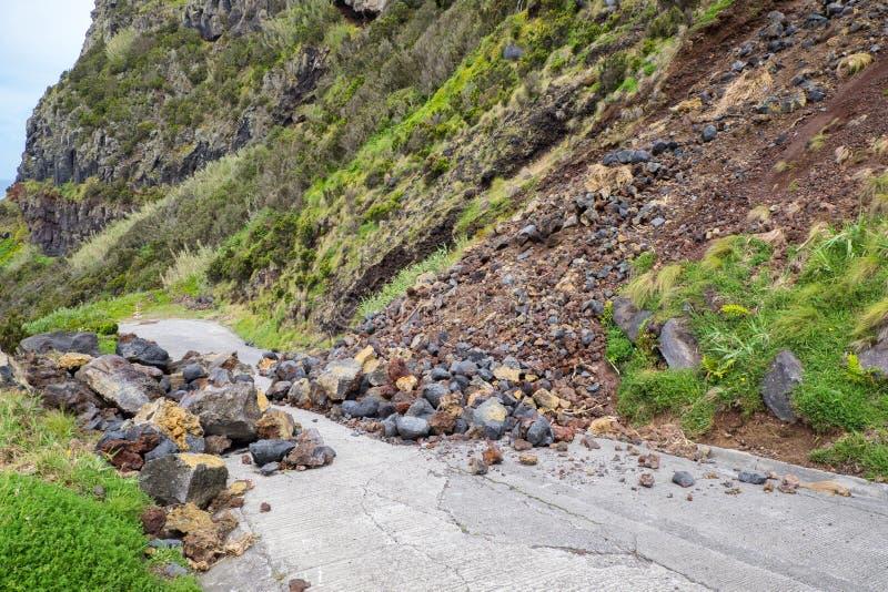 De helling van de de grondverschuivingssteen van de gevaarsberg dreigt om weg voor bestuurder en ingezetene van de stad te blokke stock foto's